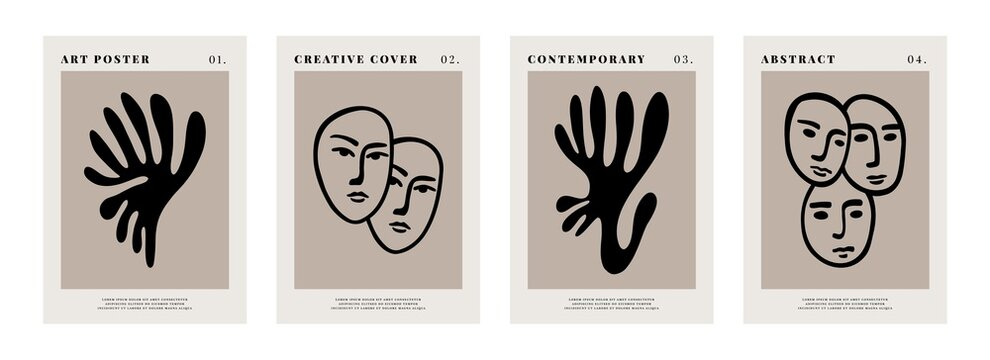 Contemporary art posters. Abstract Matisse inspired shapes. Human faces and floral natural elements. Vector illustration