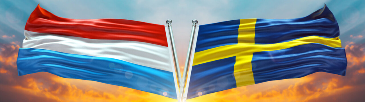 Sweden Flag and Luxemburgo flag waving with texture sky Cloud and sunset Double flag