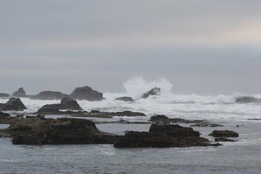 Mavericks Waves Half moon Bay Foggy Day