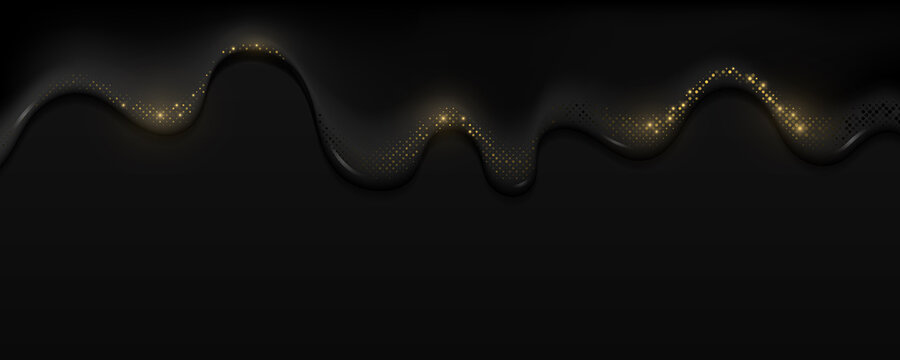 Realistic black oil with golden glitter halftone effect flows down. Dark liquid and sparkling dots. Trendy background for graphic design. Vector illustration.