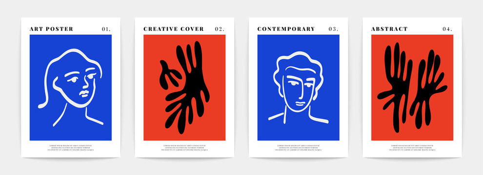 Contemporary art print. Matisse inspired posters. Abstract creative shapes of human faces and floral design in vector