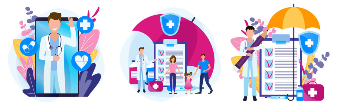 Set of illustrations of a medical theme. The doctor is online in the phone. Family health insurance. Prescription for medicines.