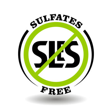 Sulfates free vector stamp with prohibited SLS, no SLES, lauryl, laureth additives for natural cosmetics icon and chemicals packaging symbol
