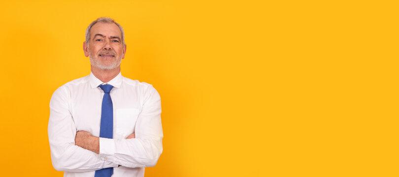 portrait of senior businessman isolated on background
