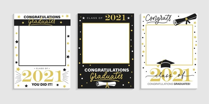 Class of 2021. Graduation party photo booth props set. Photo frame for grads with caps and scrolls. Congratulations graduates concept with lettering. Vector illustration. Gold and black grad design.