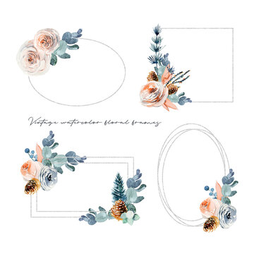 Set of watercolor vintage floral frames with white and pink roses and eucalyptus branches, isolated illustration on a white background