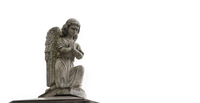 sad angel statue on white background. concept of memory, religion, condolence, mourning card or obituary. copy space