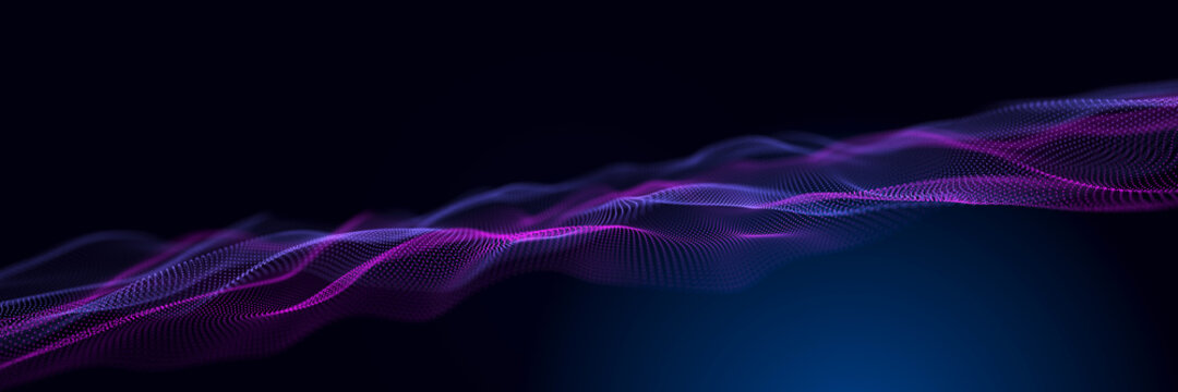 Abstract neon wave background in purple and blue tones. Visualization of computer virtual reality.3D rendering.