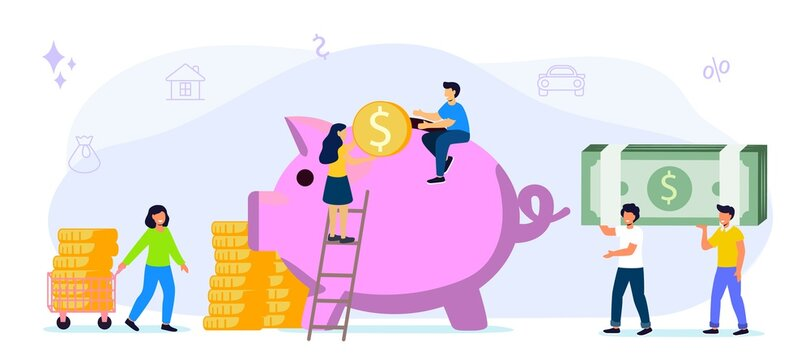 Big piggy bank on a white background with money Businessmen hoarding or saving money Funding vector flat illustrations concept The accumulation of money Economy of funds