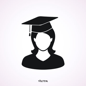 Graduate in graduation cap, avatar, flat style vector illustration. The student woman icon. School, academy, college, education symbol.