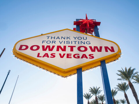 Thank you for visiting.  Backside of the Welcome to Fabulous Downtown Las Vegas sign in Southern Nevada.