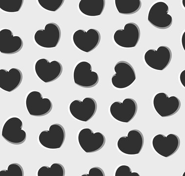 Endless seamless monochrome pattern of hearts of different directions. Black and white anaglyph vector hearts. Wallpaper for wrapping paper.