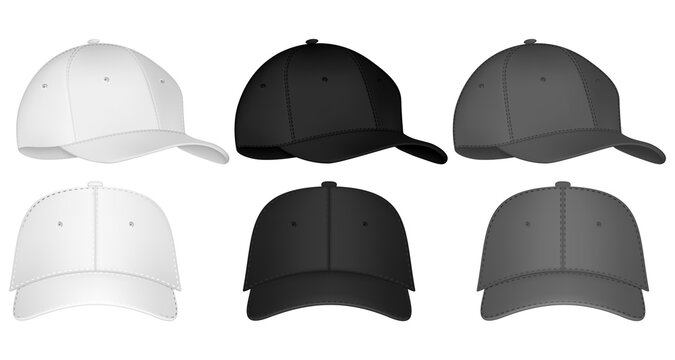 Uniform cap or hat. Mockup and blank template of baseball uniform cap with front, back and right side view. Isolated vector illustrations set. Design template. Vector illustration.
