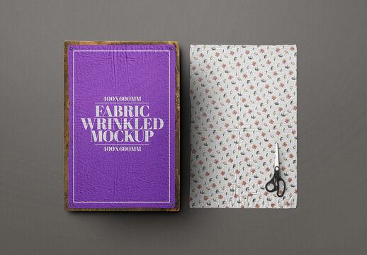 Fabric Wrinkled Mockup - Cloth, Texture, Poster, Rustic Frame 400X600Mm