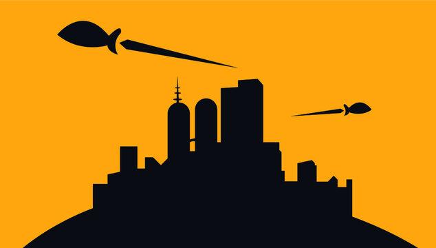 futuristic city of tomorrow silhouette vector illustration