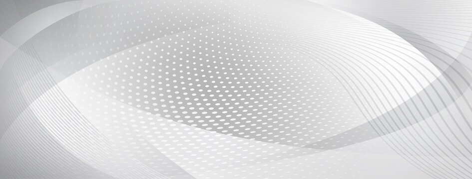 Abstract background made of curves and halftone dots in gray colors