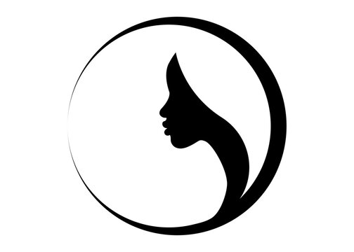 logo round design African american woman face profile. Women profile silhouette on the white background. Vector illustration isolated