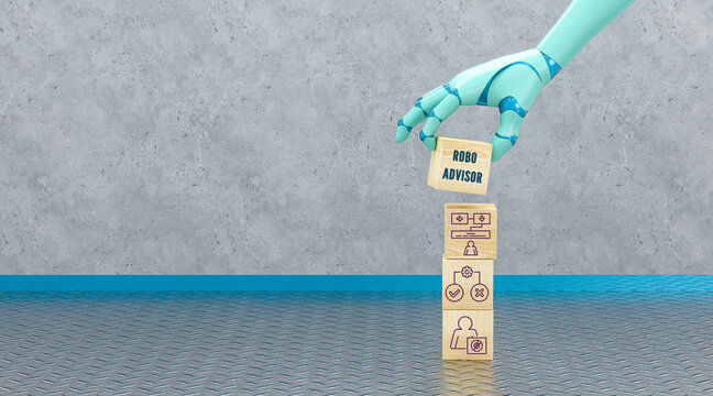 robot hand adding a cube with the text ROBO ADVISOR to a stack of cubes with business icons in front of an industrial background