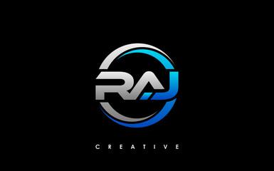 Obraz RAJ Letter Initial Logo Design Template Vector Illustration - fototapety do salonu
