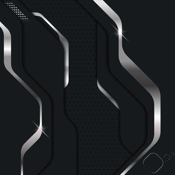 Abstract modern dark metallic background. Sci-fi techno style layered plates. Vector illustration