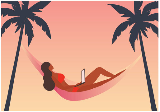 Bikini woman using laptop computer on sunset beach vector illustration.  Freelance work, work from anywhere concept