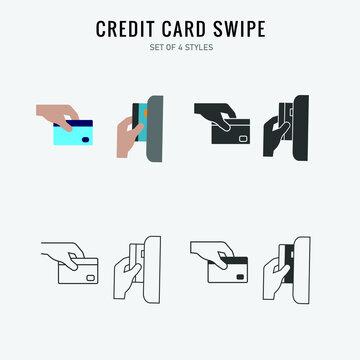 credit card swipe vector icon