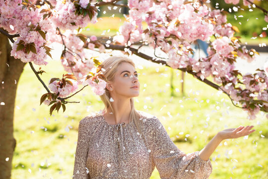 Girl in sakura. Young woman relaxing in spring flowers.