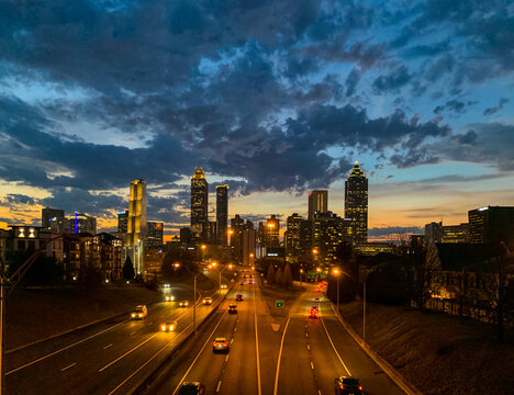 Downtown Atlanta skyline during sunset