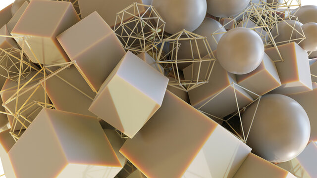 Abstract art of cubes, spheres and wireframe objects