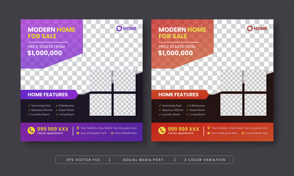 Modern home for sale social media post template