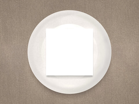 White invitational card mockup on a white wooden plate on a fabric table wear. 4x3 ratio, 6000*4500 size.