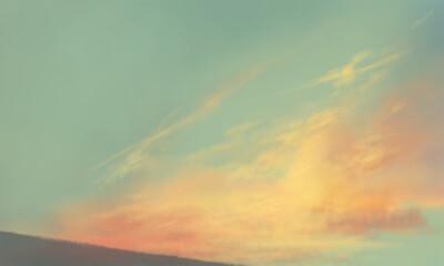 朝焼けの空の風景イラスト