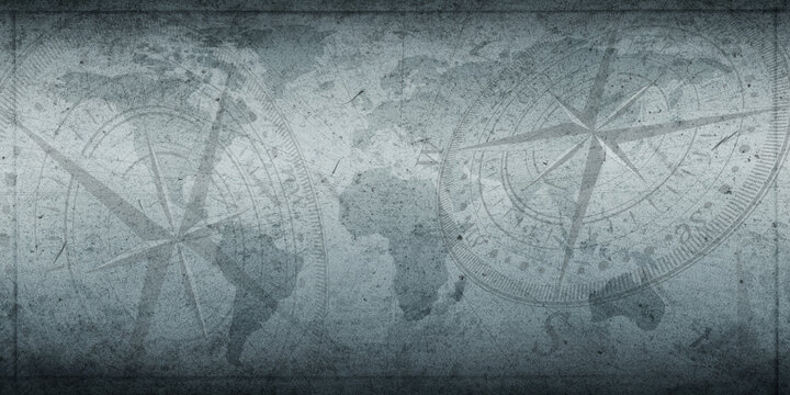 Ancient Time old compass with background and map concept. Historical blue color ancient time backdrop