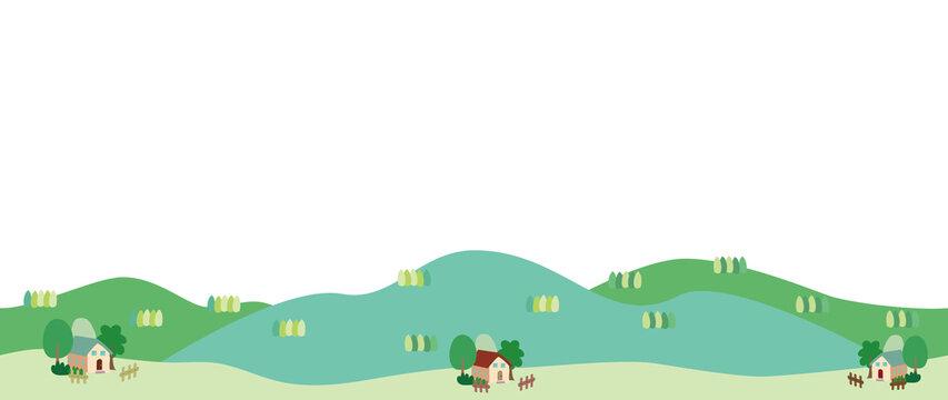 新緑の里山と家々の風景イラスト