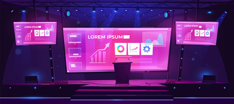 Scene for presentation, conference hall, empty stage interior with huge screen presenting business infographics, tribune, glowing spotlights and acoustic dynamics by sides, Cartoon vector illustration
