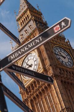 Big Ben tower and street sign, London , UK