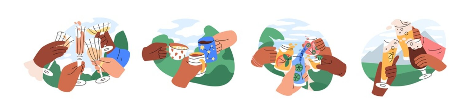 Hands with glasses and cups of champagne, wine, beer, cocktail and tea in nature, cheers and drinking toast outdoors. Colored graphic flat cartoon vector illustration isolated on white background