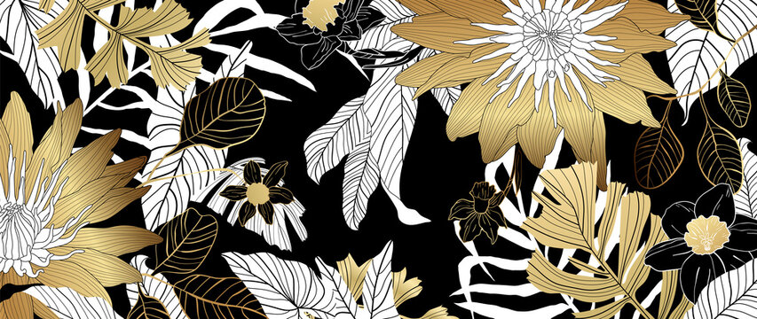 Luxury golden lotus background vector. Floral pattern with golden tropical flowers, split-leaf Philodendron plant ,monstera plant, Jungle plants line art on white background.