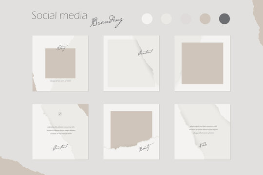 Instagram social media story post feed template, abstract layout mockup in nude colors with copy space. for beauty, cosmetics, make up fashion. torn rip paper texture background