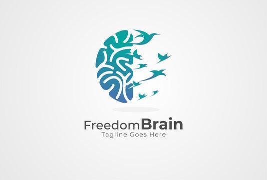 Brain Logo, brain and bird symbol of freedom combination,  flat design logo template, vector illustration