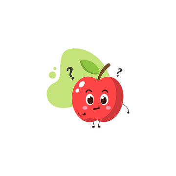 cute apple with the question mark.cute vector illustration