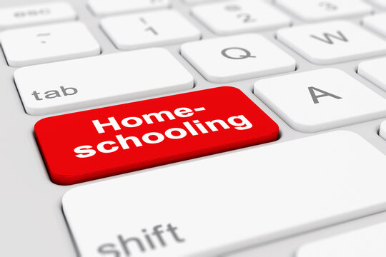 3d Illustation - Tastatur - Homeschooling - Schule - Hausunterricht - Unterricht - zu Hause