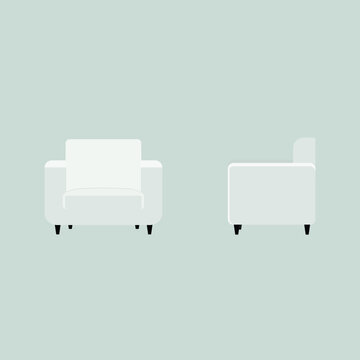 vector soft chair. flat image of a chair on both sides. front view on armchair and armchair side view.