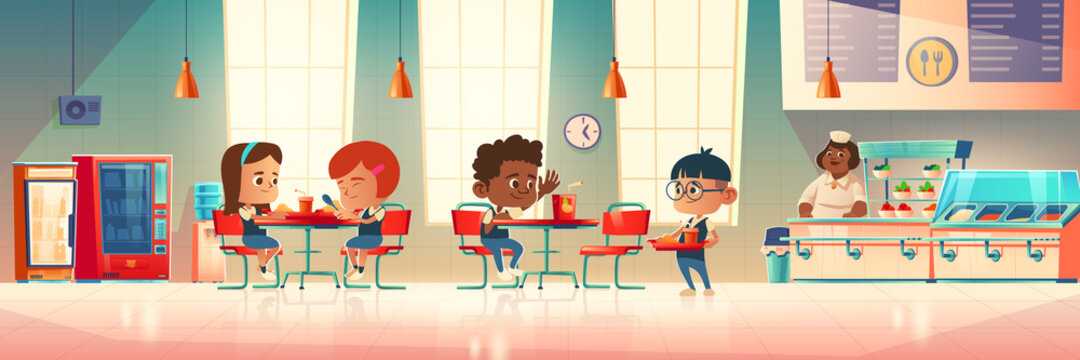Children eat in school canteen