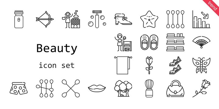 beauty icon set. line icon style. beauty related icons such as shaving brush, forest, artemis, pants, homemade, hot stones, electric razor, sandals, hand bag, shoes, cotton swab, loss, fan, lips