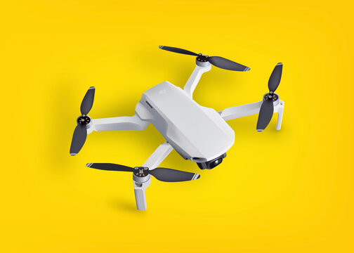 Realistic vector 3d Mavic mini drone quadcopter