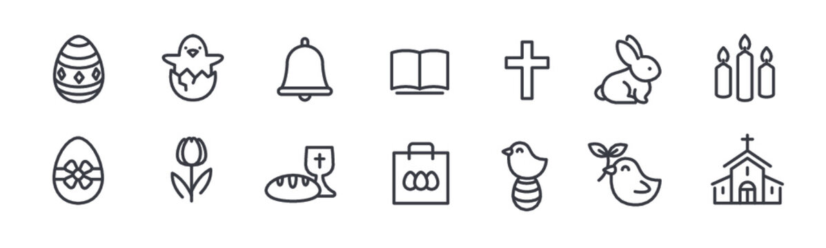Easter flat line icons set. Colored eggs, basket, egg hunt, rabbit, spring flowers, bible, cake vector illustrations. Thin signs christianity celebration. Pixel perfect 64x64. Editable Strokes