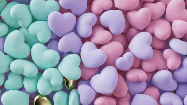 Multicolored Heart background. Valentine Wallpaper with Violet, Pink and Turquoise love hearts. 3D Render