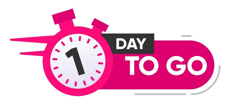 One Day Left Icon. 1 Day To Go.