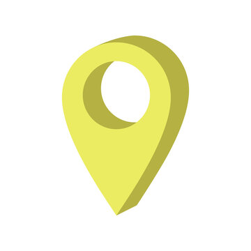 Color maping pin location icon. Vector illustration for web design. Yellow pin icons. Vector illustration in flat isometric 3D style.